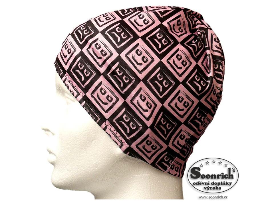 Soonrich, multifunkční šátek růžový, smajlíci, seor005