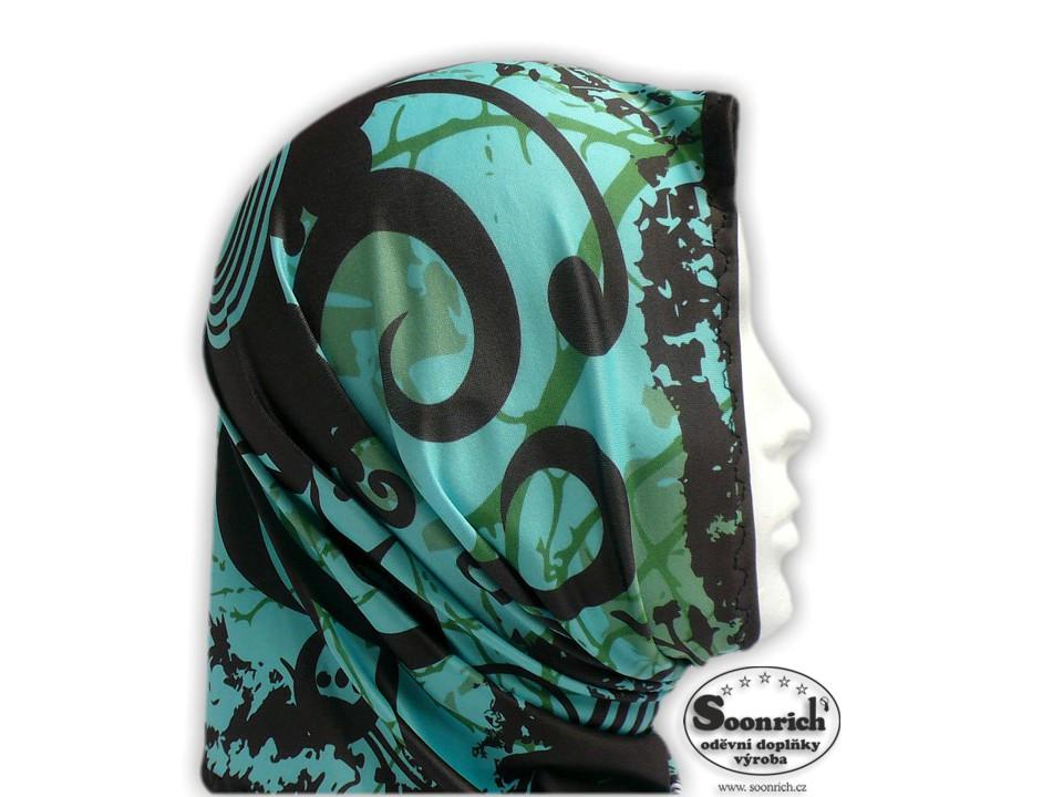Soonrich, multifunkční šátek zelený, květinový, seor022