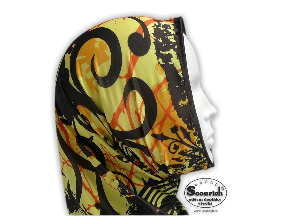 Soonrich, multifunkční šátek žlutý, květinový, seor024