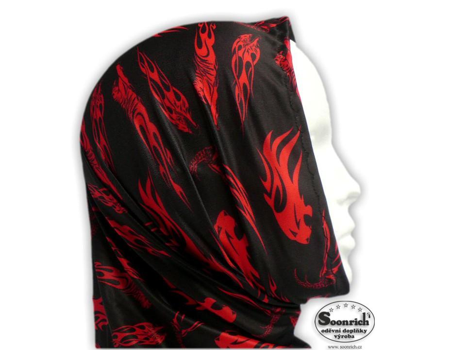 Soonrich, multifunkční šátek červený, zvířecí, seor030