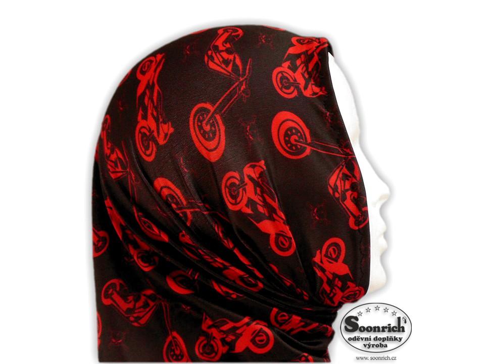 Soonrich, motorkářský šátek červený s motorkami, seor036