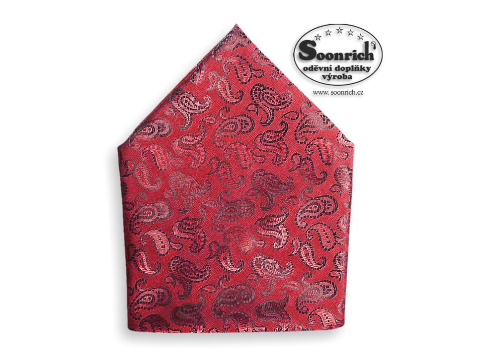 Soonrich, šátek dámský, pánský červený kašmír, stk032