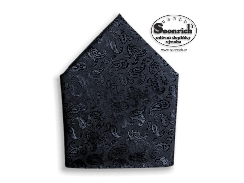 Soonrich, šátek dámský, pánský modročerný kašmírový, stk035