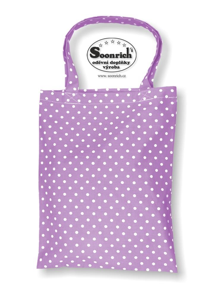 Soonrich, nákupní bavlněná taška fialová puntík, ntk057
